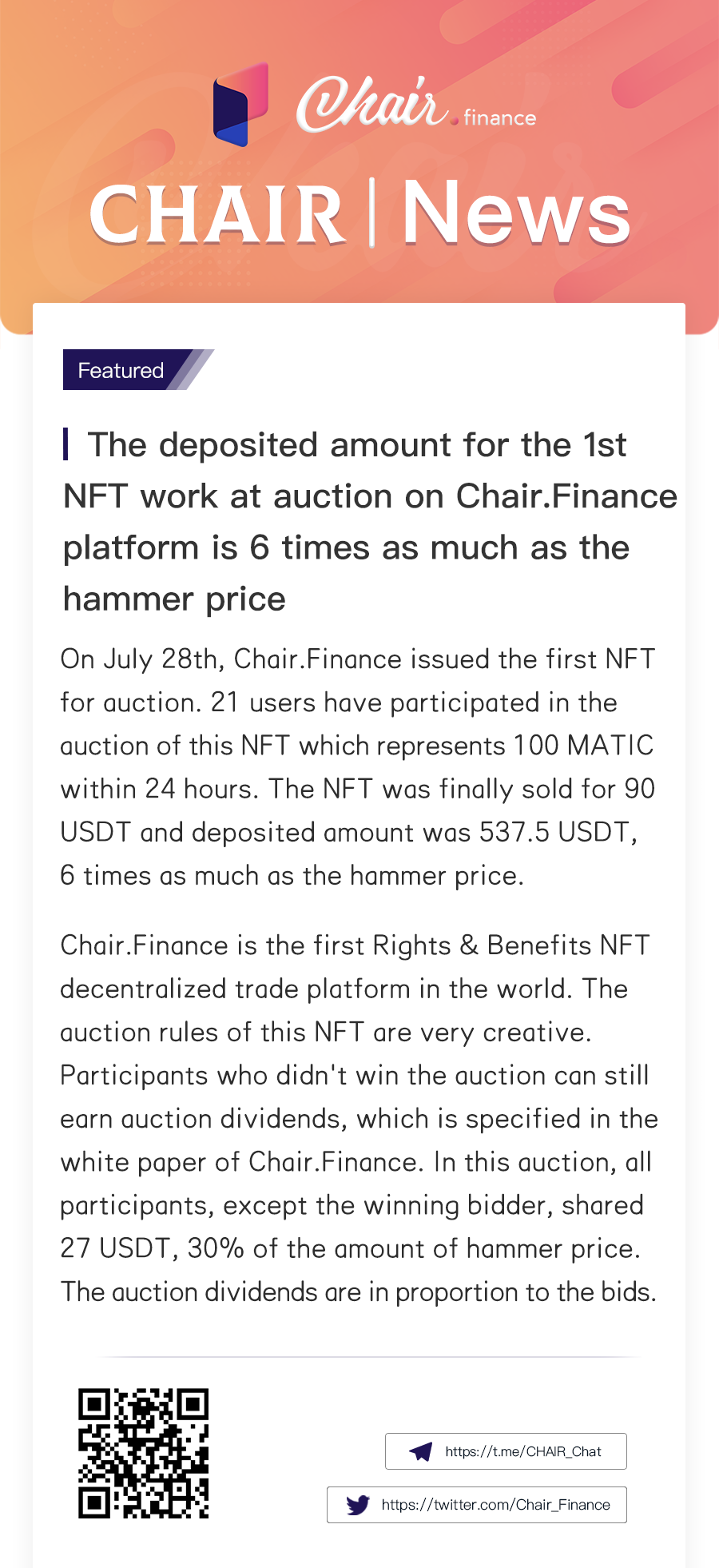 The deposited amount for the 1st NFT work at auction on Chair.Finance platform is 6 times as much as the hammer price