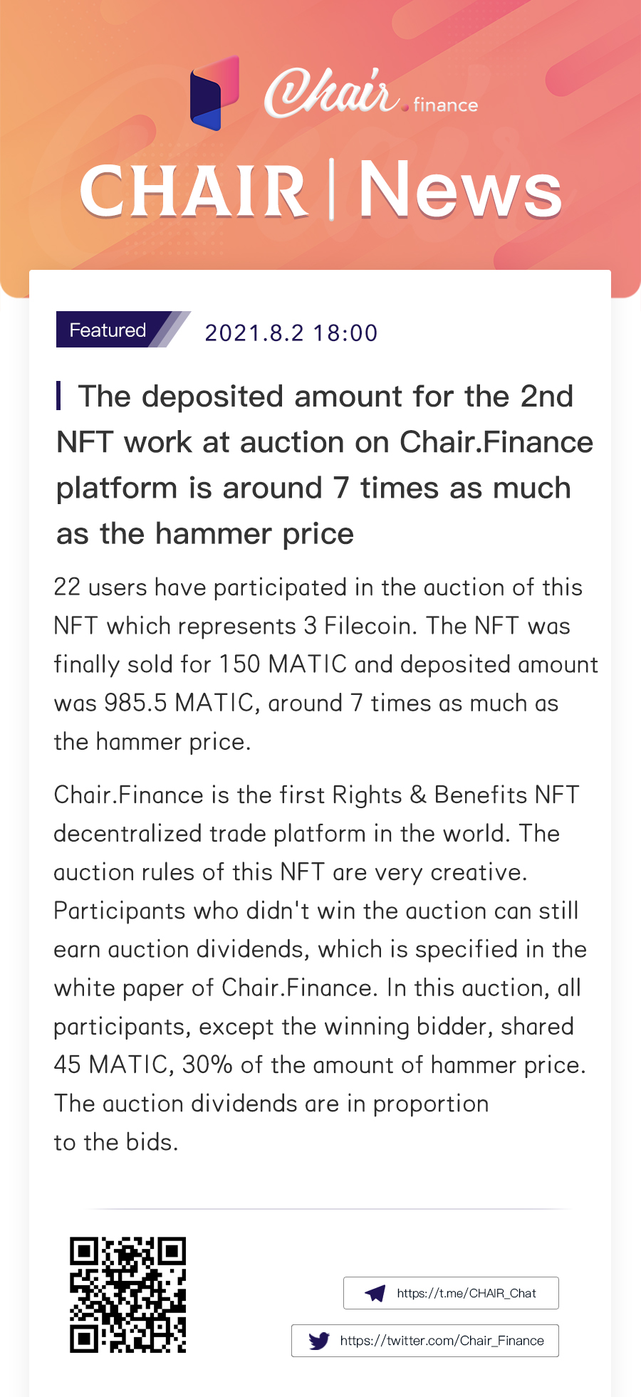 The 2nd auction of Filecoin on Chair brings a deposit amount of 7.5 times the hammer price